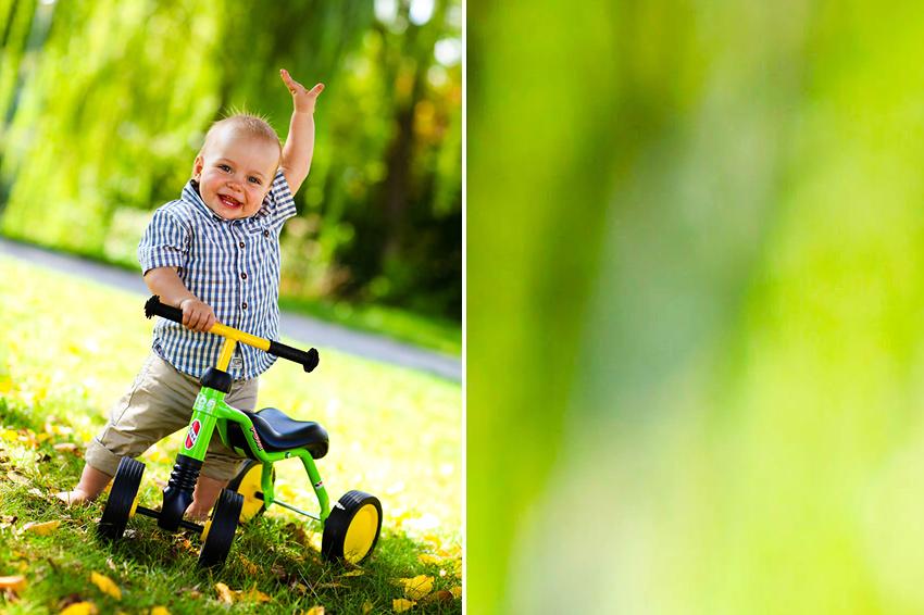 Farbfoto, Kinderfotografie mit Dreirad